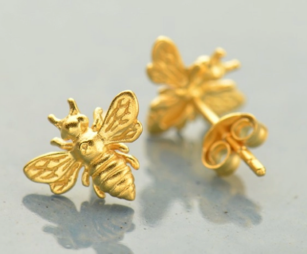 24K Gold Stud Bumble Bee Earring