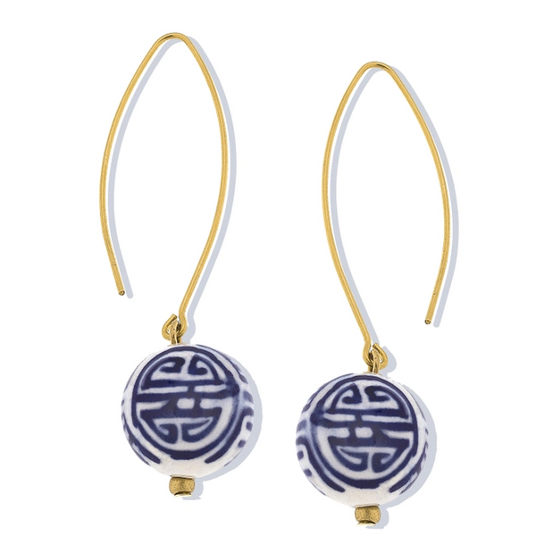 Porcelain Ball Threader Earrings by Susan Shaw