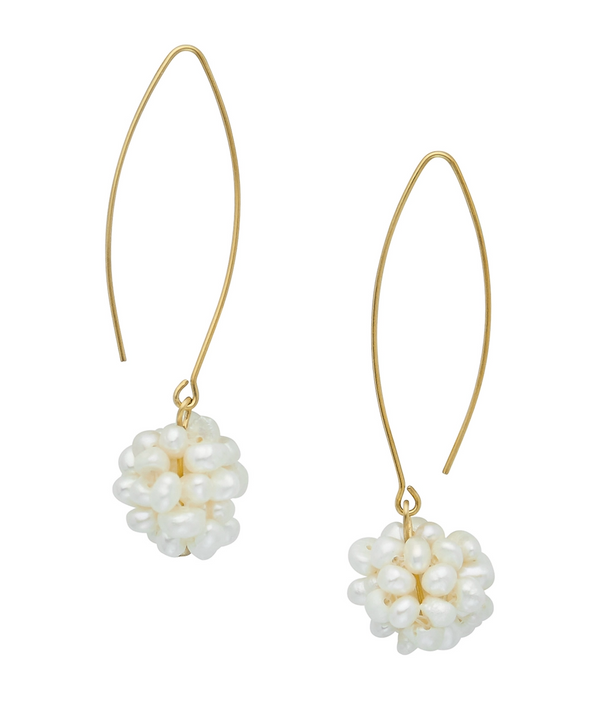 Gold Pearl Cluster Threader Earrings