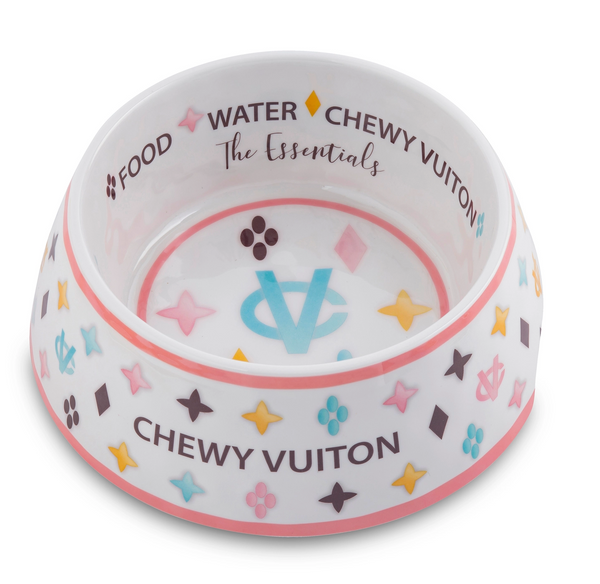 Chewy Vuiton Dog Bowls and Placemat, 2 styles