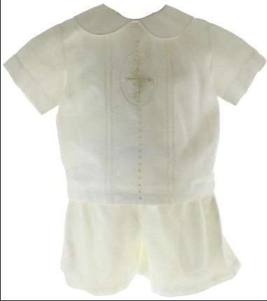 Boy's Cross Christening short set
