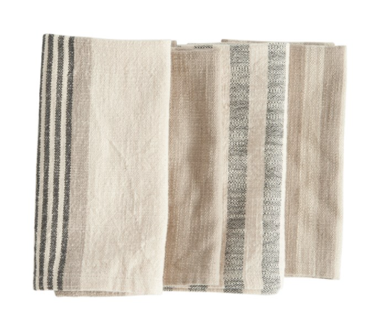 "18"" Square Woven Cotton Striped Napkins, Set of 4"
