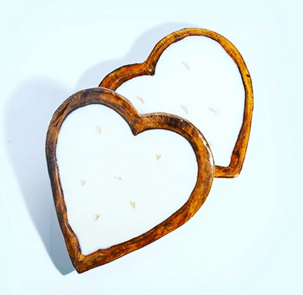 6 Wick Heart Shaped Dough Bowl Soy Candle - 30 oz