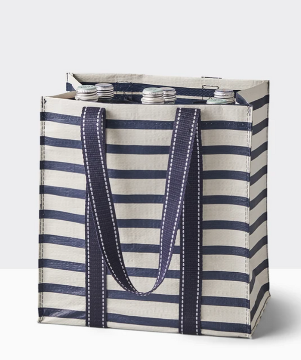 Multi-Use Beverage Tote, Navy Stripe