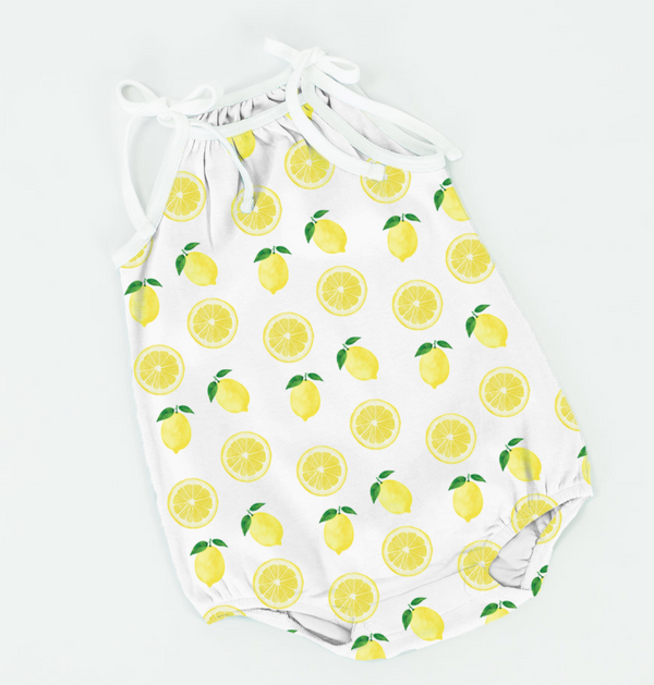 Easy Peasy Lemon Squeezy Organic Cotton Shoulder Tie Onesie