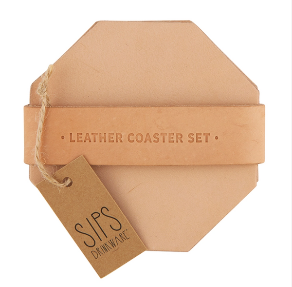 Leather Coaster Set - Tan 4 Pack