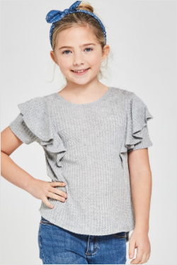 Waffle Knit Top with Ruffle Sleeves - Grey