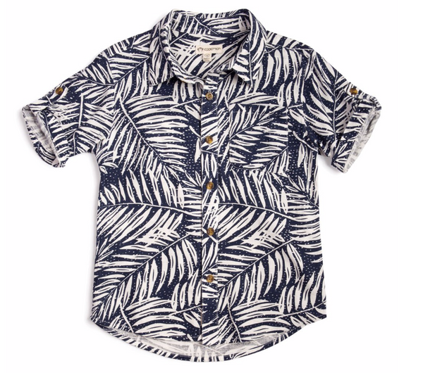 Pattern Shirt Toddler Boys - Leaves
