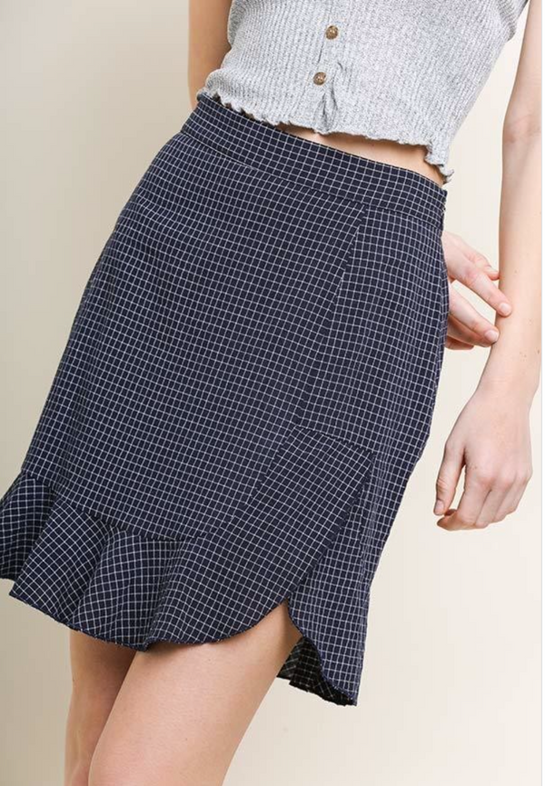 Checkered Print Ruffle Skirt