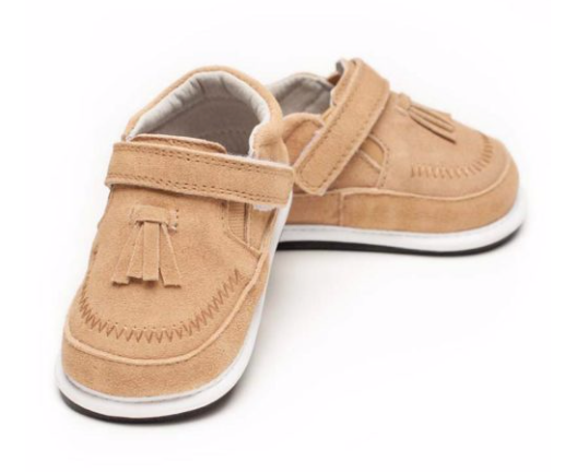 OWEN Whipstitch Tan Suede Sizes 6m-30mths
