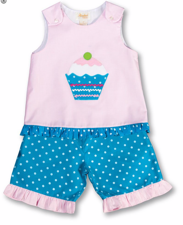 Cupcake Pink Gingham Aqua Blue Polkadot Blouse & Pants Set