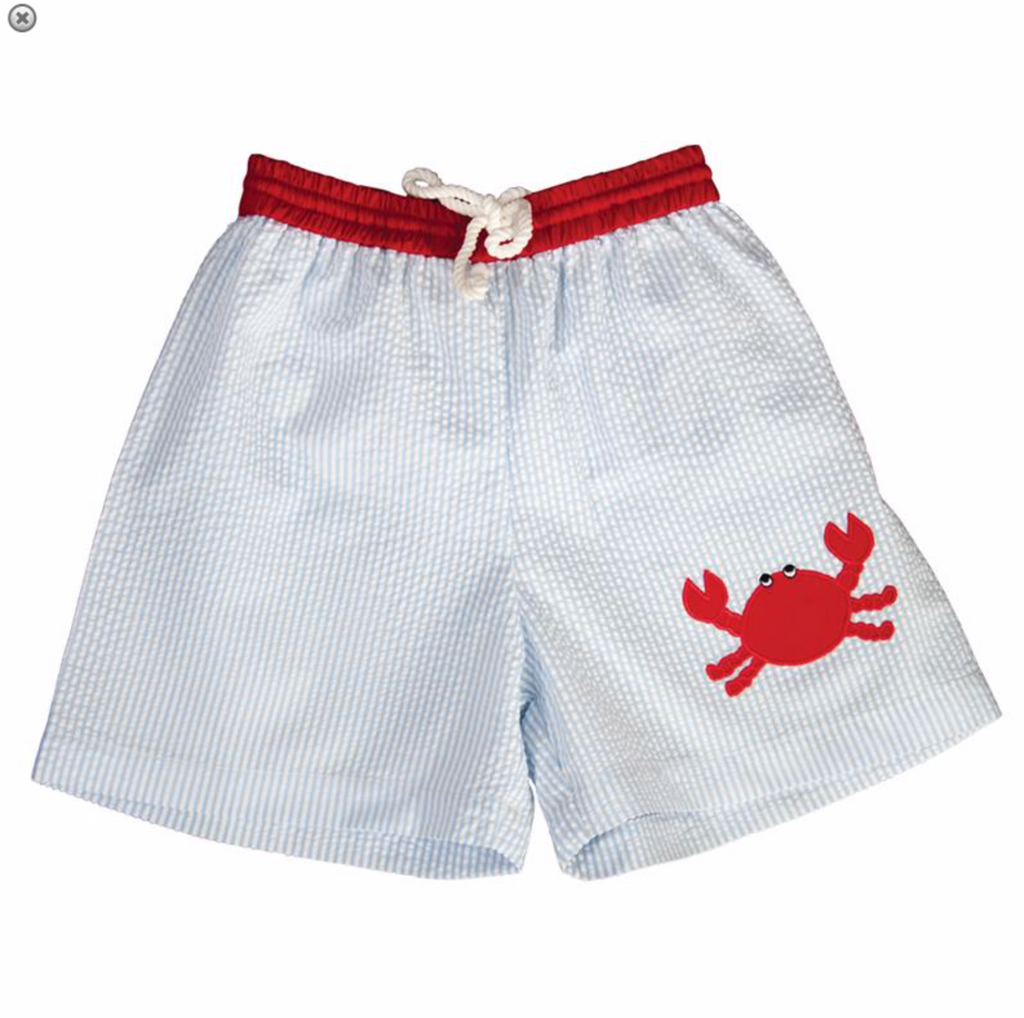 Blue Striped Seersucker Crab Swim Shorts