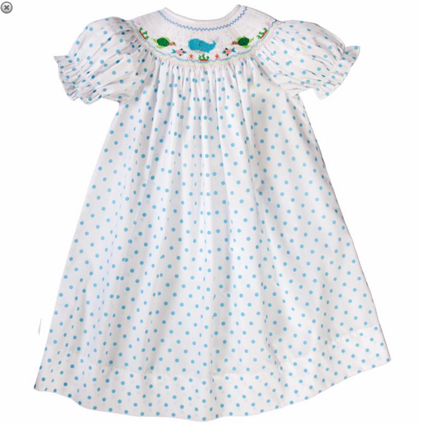 Blue Dotted Whale Smocked Dress