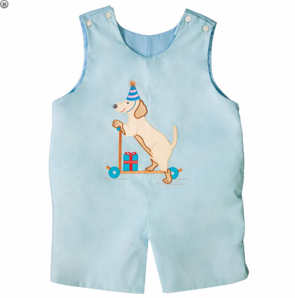 Blue Puppy Scooter Romper