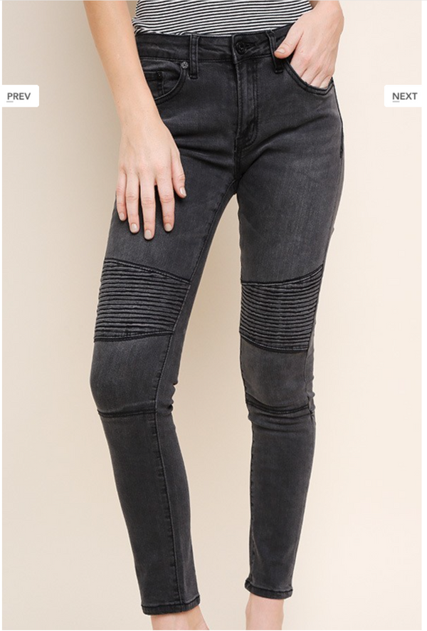 High Waisted Moto Denim - Dark