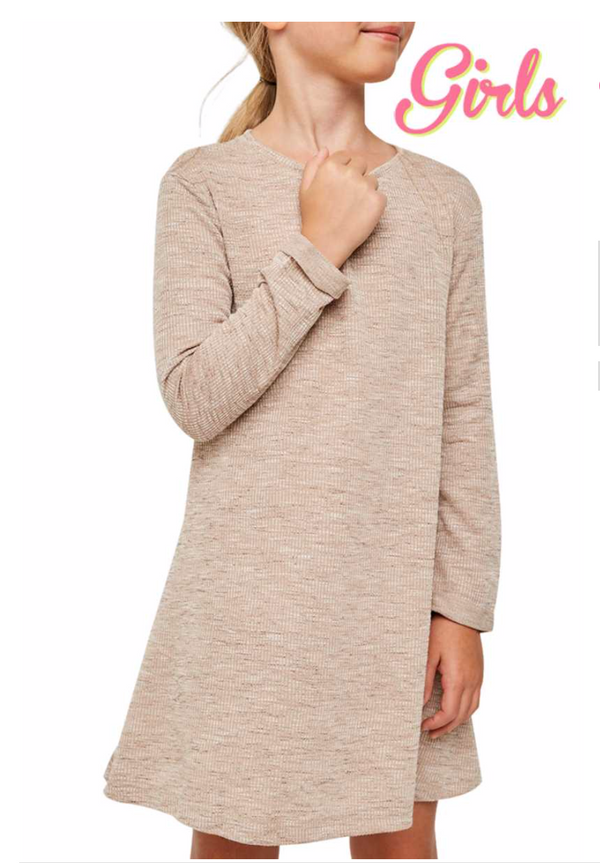 Long Sleeve Heathered Ribbed Dress