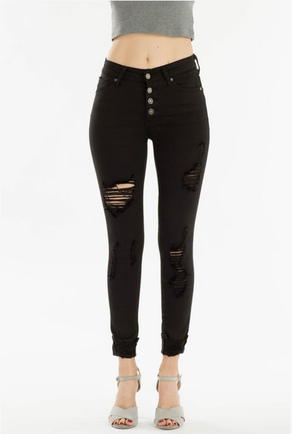 Black Distressed High Rise Super Skinny Jeans