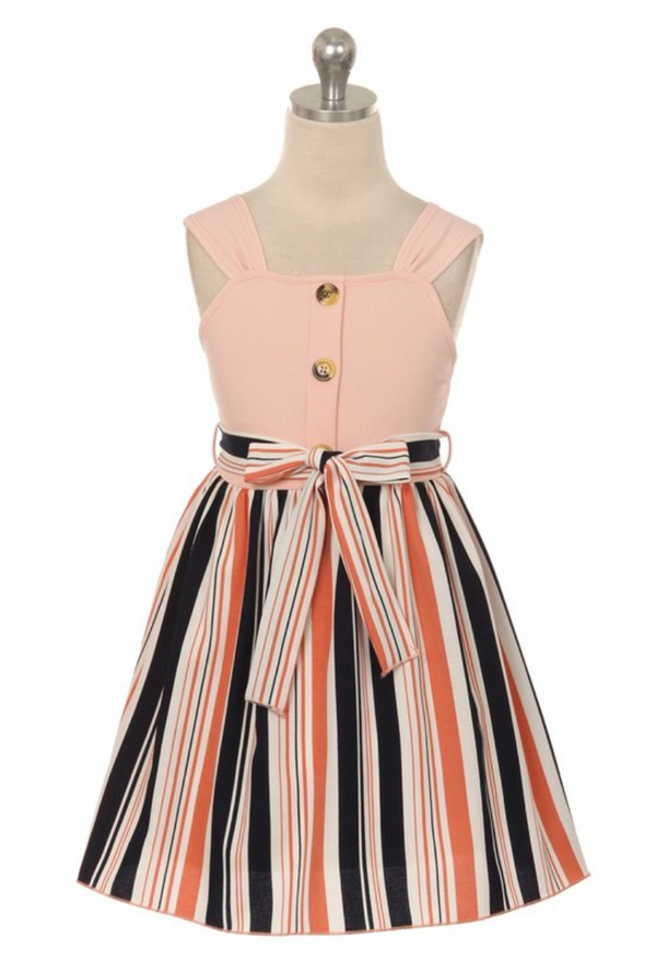 Peach Dress with Striped Skirt