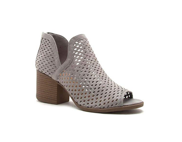 Core Perforated Ankle Bootie - Light Grey