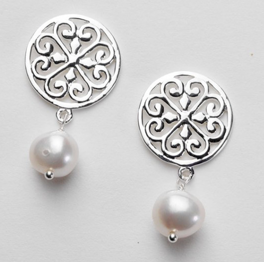 Southern Gates Scroll Stud Earring with White Pearl