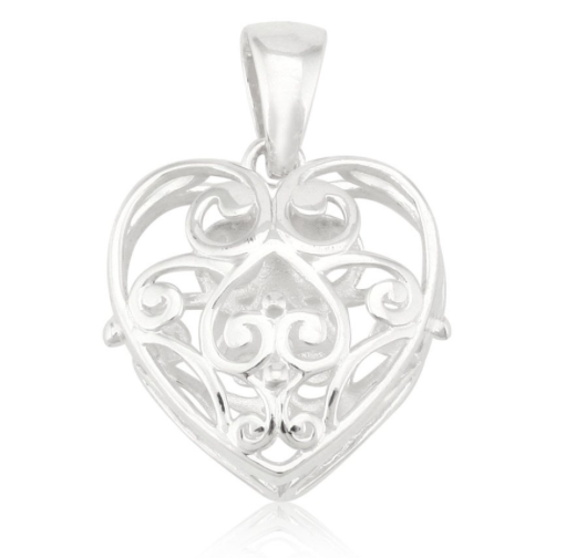"Southern Gates Puffy Heart Pendant w/20"" 1.0 snake chain"