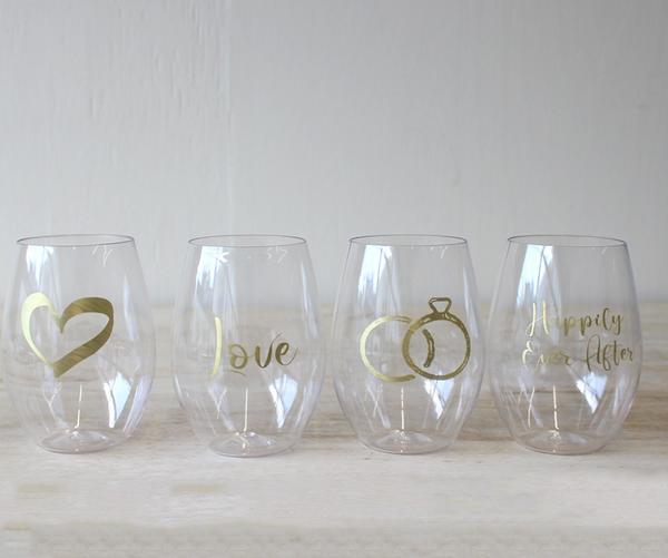 Wedding To Go Wine Glasses (set of 4)