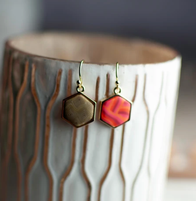 Jilzarah Hexagon reversible earrings