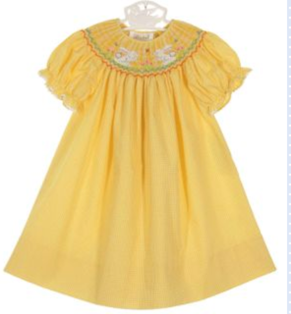 Rosalina Yellow Checked Bishop Smocked Dress with Bunnies