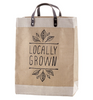 Burlap Shopping bag with Leather Handle