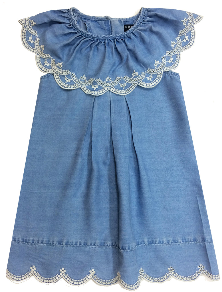 Nina Denim Scalloped Ruffle Toddler Dress