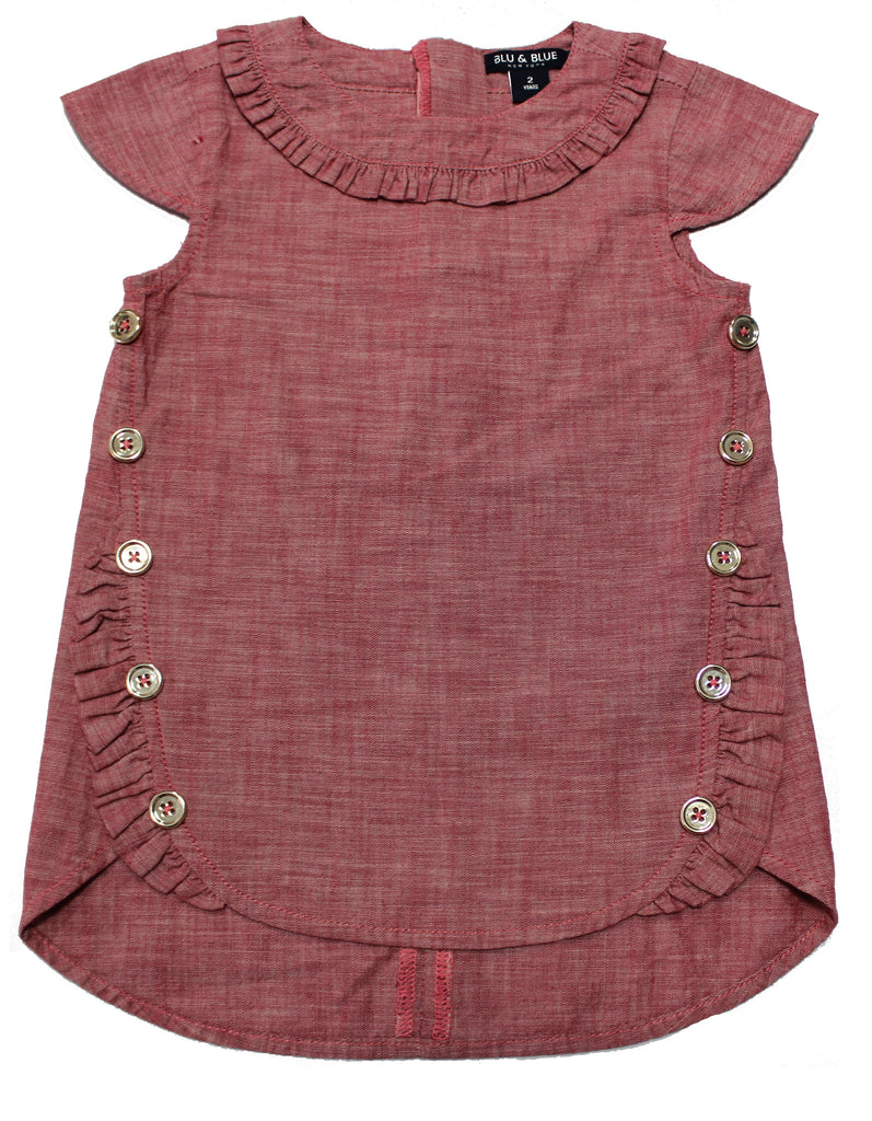 Portia Red Chambray Ruffle Button Dress- Kids