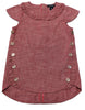 Portia Red Chambray Ruffle Button Toddler Dress