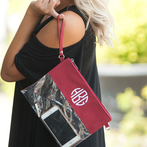 Clear Crossbody/Clutch Gameday Stadium Bags in Many Colors- Monogram