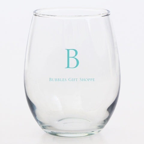 Clear Stemless Acrylic Glass - Home Goods- with Monogram - Bubbles Gift Shoppe