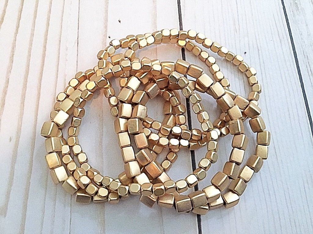 Gold Stack Bracelets- 7 in a row - Bubbles Gift Shoppe