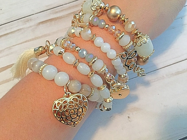 Charming Charm Stretch Bracelets- 6 Layers of Love Choice of 2 Colors - Bubbles Gift Shoppe