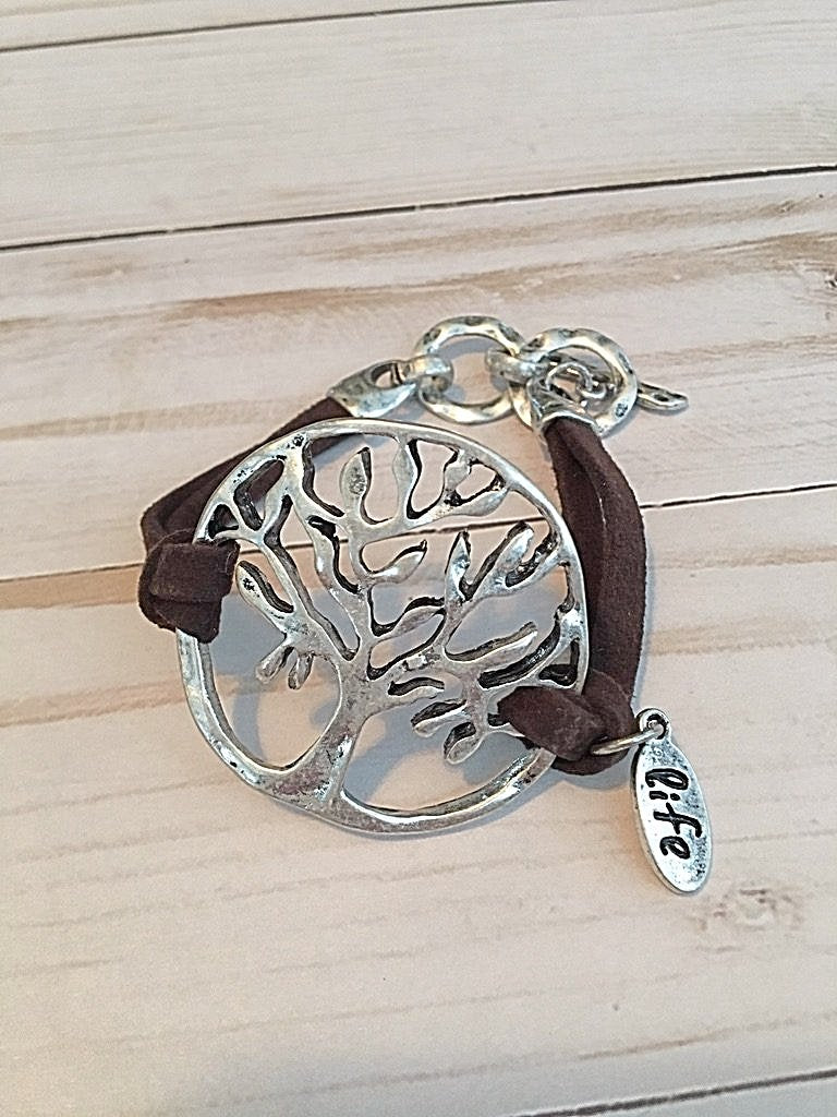 Tree of Life Black Cord Bracelet - Bubbles Gift Shoppe