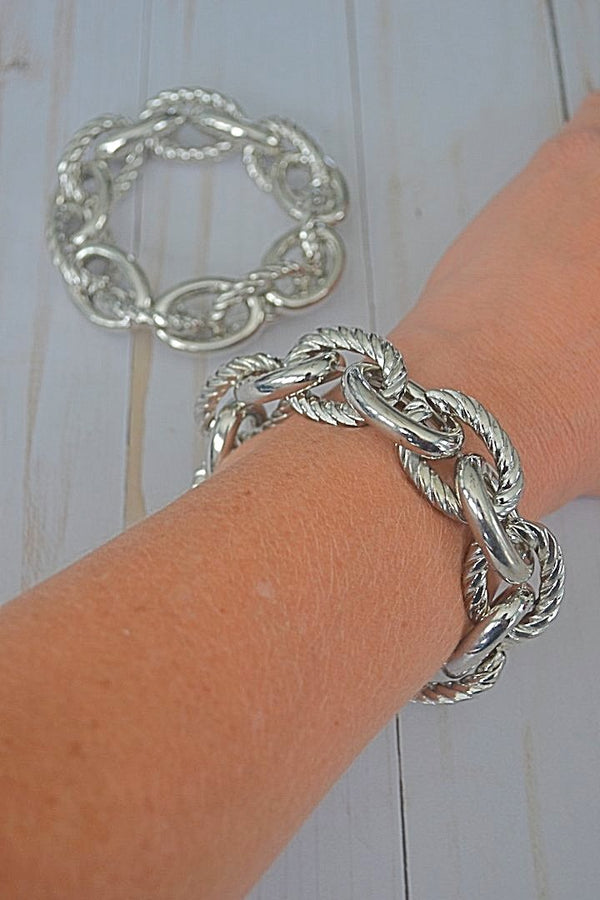 Silver Rope Stretch Bracelet - Bubbles Gift Shoppe