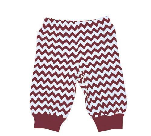 Maroon and White Baby Pants - Kids- Monogram - Bubbles Gift Shoppe