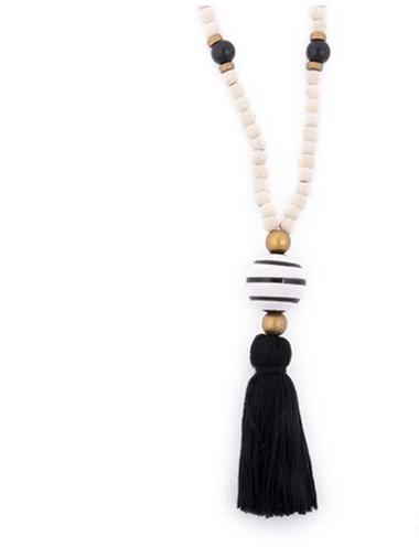 Ceramic Bead Tassel Necklace- 4 Colors