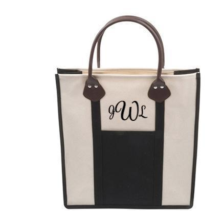 Canvas Tote in 3 colors- Monogram