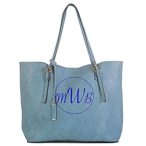 Denim Blue Leather Bag - Bubbles Gift Shoppe