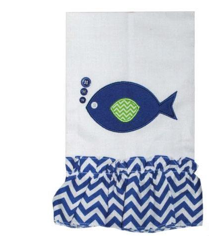 Bubbles Blue or Pink Fish Bath or Kitchen Towel- Home Goods- Monogram - Bubbles Gift Shoppe