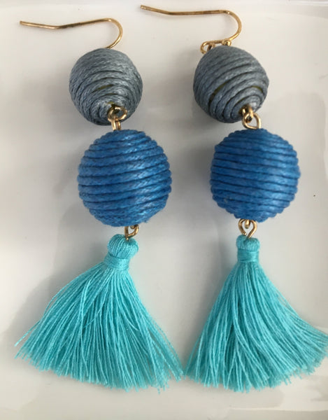 Thread Wrapped Ball Drop Earrings in 2 Colors - Bubbles Gift Shoppe