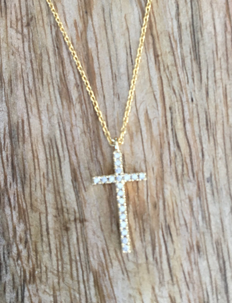 Paved Cross Pendant Chain Necklace - Bubbles Gift Shoppe
