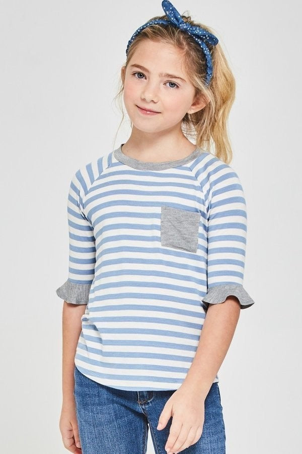 Striped 3/4 Sleeve Knit Top with Pocket - Blue