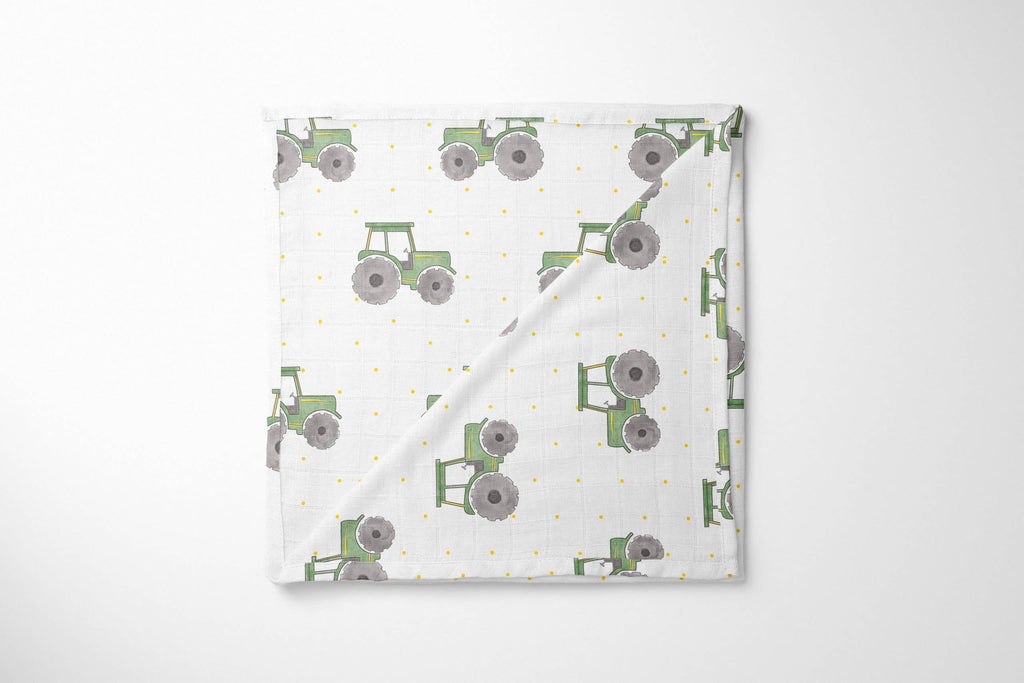 This is How My Tractor Rolls Muslin Blanket