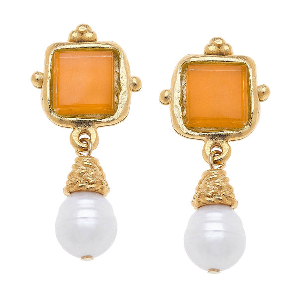 Pearl  with stone dangle Earrings