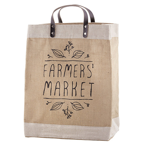 Farmers Market Bag with Leather Handle - Bubbles Gift Shoppe