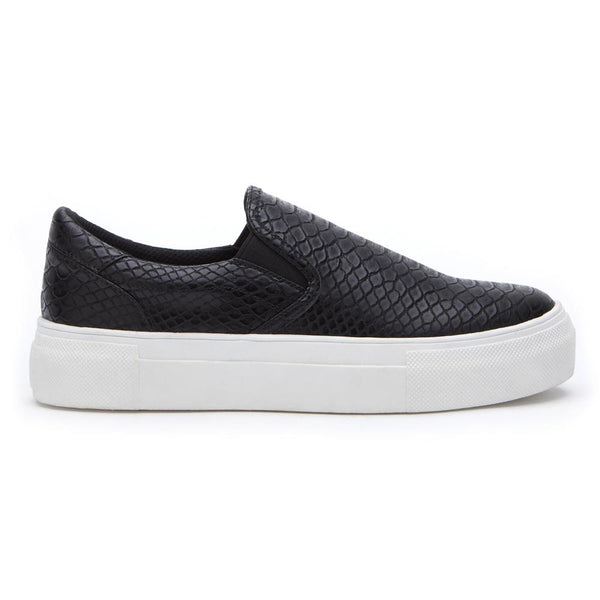 Black Snakeskin Slip-On Sneaker